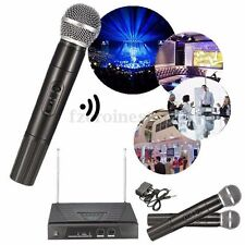 Dual Wireless Cordless DJ Karaoke Public Address PA Mic Microphone System +2 Mic