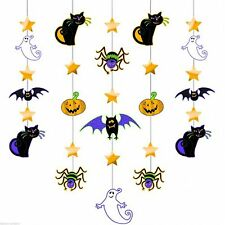 5 Haunted Halloween Party Gruesome Group Glitter String Decorations