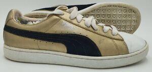 Puma Basket Low Leather Trainers 181845 18 Gold/White/Black UK9/US10/EU43