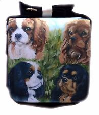 CAVALIER KING CHARLES SPANIEL DOG SHOULDER BAG SATIN EFFECT  SANDRA COEN ARTIST