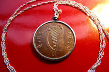 """Antique Lucky 1968  Irish Harp Penny Pendant on a  28"""" 925 Silver Wavy Chain"""