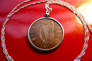 "Lucky 1968 Irish Harp Penny Pendant 28"" 925 ITALIAN Sterling Silver Wavy Chain"