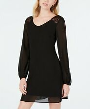 Womens Sequin Hearts Chiffon Dress with Sequin-Trim Shoulder Dress Size XXL