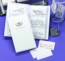 White Silver Heart Wishes Wish Cards Wedding Guest Book