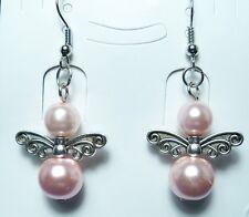 1 Pair of Beautiful Pink Bead Angel Earrings New