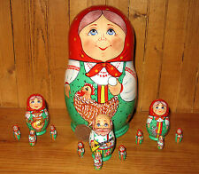 Russian nesting doll 13 HEN RYABA UNIQUE Korobeynik Matryoshka SIDOROVA babushka
