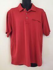 Men's L.L. Bean Orange Tangerine Polyester Mesh Polo Golf Shirt Size L