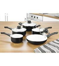 5 pc Black Gloss Non Stick Pan Set Frying Pan Ceramic Interior Insulated Handles