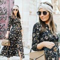 ZARA MAXIKLEID HEMDBLUSENKLEID KLEID BLUMEN MUSTER FLORAL PRINT SHIRT DRESS M