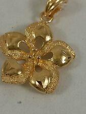 Pendant - 2.3 Grams Women 18K Solid Yellow Gold Flower