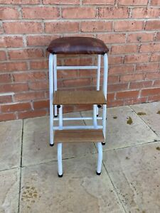 Vintage Industrial Metal & Wood Folding Kitchen Step Stool