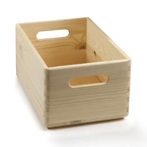 10 Stück HolzFee Holzkiste 30 x 20 x 14 Holzbox Stapelkiste mit Griff Kisten