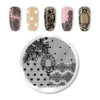 NICOLE DIARY Nail Art Briefmarke Image Template Stainless Steel Round Heart 071