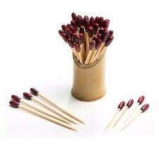 100 x Magenta Sparkle Bead Skewers Natural Eco Bamboo BBQ Party Cocktail Bar