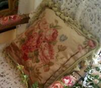 Vintage Handmade Wool Cushion Cover Needlepoint Canvas Tassel Pillows ROSE