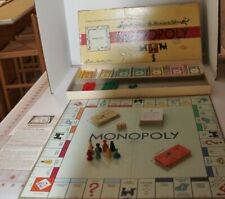 1954 Parker Bros. MONOPOLY Game BOARD in Box, Wood Tokens - Complete - Vintage