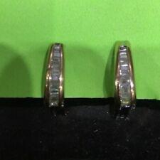 "Channel set baguette diamond Lever-back earrings 14kt gold, 7/8"" long"