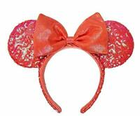 Disney Parks Minnie Mouse Sequined Ear Headband for Adults – Coral