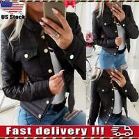 Womens Ladies PU Leather Zip Up Bomber Jacket Biker Coat Casual Tops Outwear USA