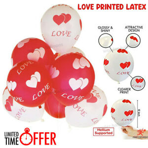 "12"" INCH I Love You Printed Balloons Helium/air quality baloons for valentine UK"