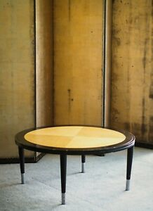 Beautiful 1980s burl and lacquer coffee table Art Deco style design Post Modern