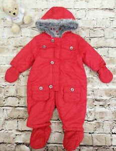Unisex Baby Mothercare Red Pram Suit With Hood And Mittens Age 3-6 months