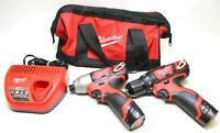Milwaukee 2494-22 M12 12V Li-Ion 2-tool Cordless Combo Kit With Case - New!