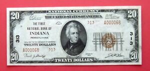 INDIANA, PA, FIRST NATIONAL BANK, $20 NATIONAL CURRENCY, SMALL SIZE,1929, SHARP