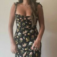 Black Floral Ruffle Romantic Midi Dress Vintage Reformation Style Nikita