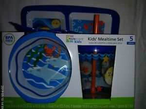 4.  Mainstays Kids Mealtime Set. BPA Free, 5 Pieces, Beach theme, New in pkg