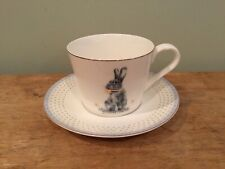 SPODE Meadow Lane Cup and Saucer with Blue Band Bunny NEW With Tag