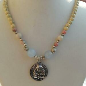 Silver Buddha Charm Necklace Marble Beads Etched Lotus Silver Beads 22""