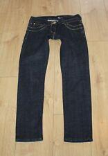 Dark Blue Denim RIVER ISLAND Zip Slim Low Rice Stonewashed Jeans Size 8 /34 L 29