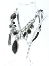 Dangle Drop Charm Necklace Silver-Tone Accents And Charms 18""