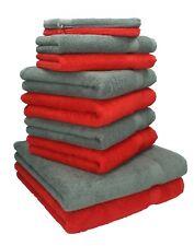 """Lot de 10 serviettes """"Premium"""" rouge et gris anthracite, 2 serviettes de bain, 4"""