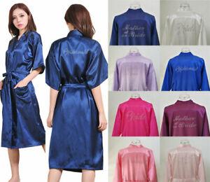 UK LONG Silk Satin Robe Personalized Bridesmaid Wedding Kimono Dressing Gowns