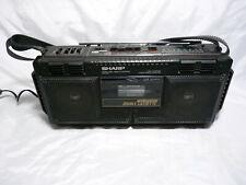Sharp Wq-T232E Twin Cassette Player Recorder 3 Band Radio Retro Black Boombox