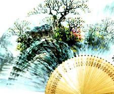 Fächer Handfächer Papier Bambus Wand Dekor Muster Neu