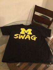 Michigan Wolverines Swag Football Basketball Black T-Shirt XL Good Condition