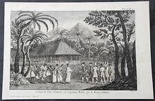 1774 Hawkesworth Antique Print Queen Purea Surrender to Capt Wallis Tahiti, 1767