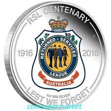 2016 Australia The RSL Centenary 1oz Silver Proof Coin Perth Mint COA & Box