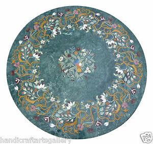 """24""""x 24"""" Green Marble Coffee Table Top Hakik Inlay Floral Stone Home Decor H2050"""