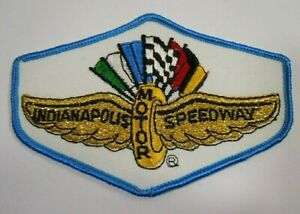 """Vintage Indianapolis Motor Speedway Embroidered Iron-On Patch 4.5"""" Indy 500 Blue"""
