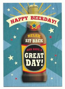 Happy Birthday Fun Beer Greetings Card For Him/Her/Friend by Cards For You