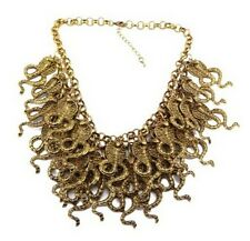 Chunky New Ladies Metal Multi Layered Cluster Cobra Snake Choker Necklace