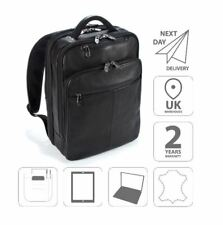"""15.6"""" Laptop iPad Backpack Colombian Leather Business Bag Black FI6705"""