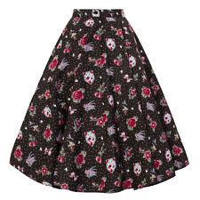 Hell Bunny Stevie Swallow Tattoo Retro Rockabilly Vintage 1950s Swing Skirt