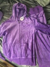 BNWT~So~2-Pc Girls Hooded Velour Track Suit-Purple sequins-Size L hoodie M pant