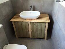 Rustic wooden vanity unit unique hand made en suite bathroom basin 100cm