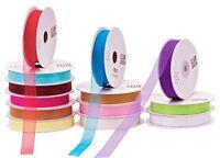 Organza Ribbon 3/8'' Solid Colors 225yds Set of 5 Rolls Hemmed Edges Craft Art